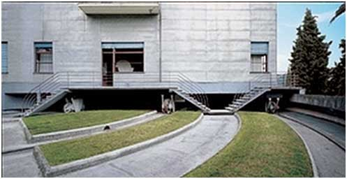 Wheels and tracks on terrace Revolving house in Italy