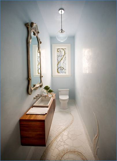 Narrow bathroom design ideas by cifial usa loftenberg for Small narrow bathroom ideas
