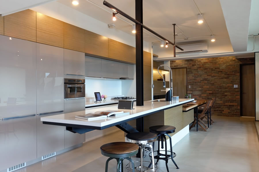 modern, mostly concealed kitchen