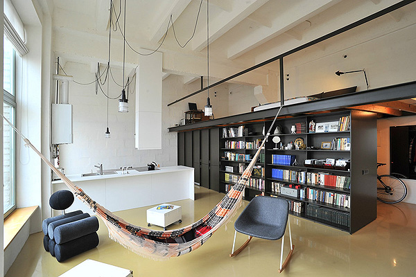 A cozy loft inside a former radio factory