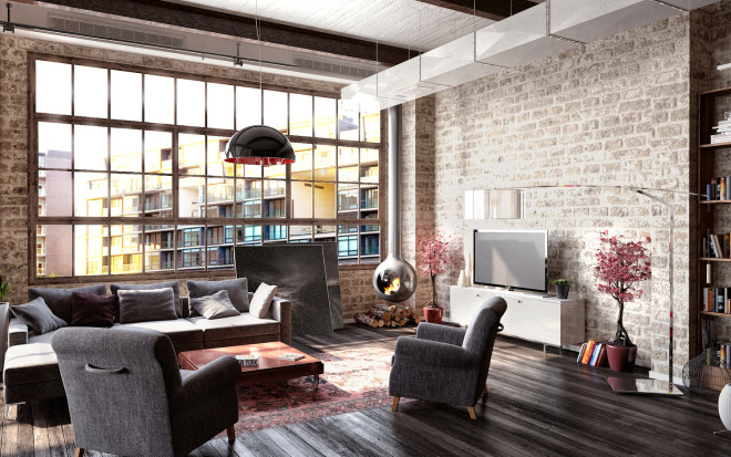 Industrial Loft With a Huge Bookshelf / Loftenberg